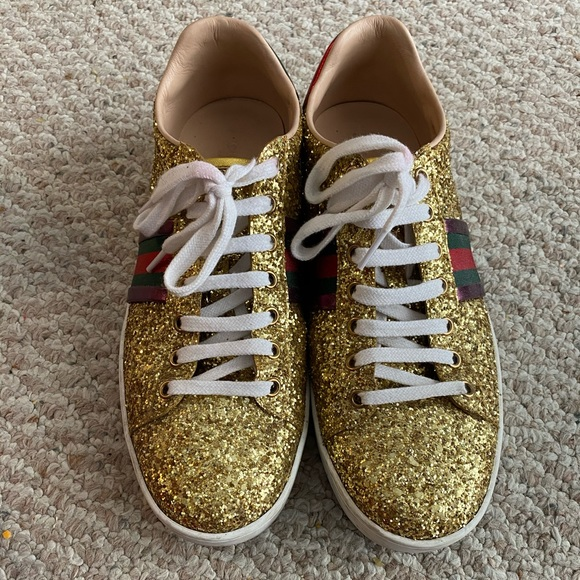 Gucci Shoes | Ace Gold Glitter Sneakers
